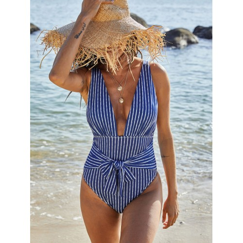 V Neck Striped One Piece Bathing Suits