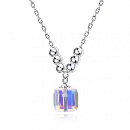 Fashionable sterling silver Square necklace from swarovski elements
